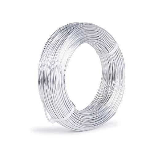 JNCH 2mm Alu Schmuckdraht 50m Aludraht Basteln Aluminiumdraht Craft Draht Schmuck Basteldraht Handwerk Silber