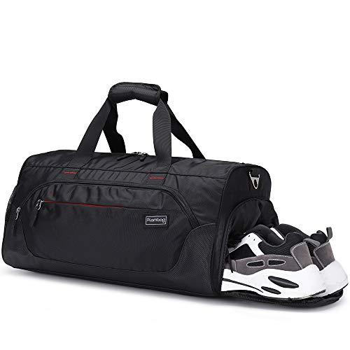 Plambag Sports Duffel Gym Bag with Wet Pocket & Shoe Compartment, Water-repellent Travel Weekender Bag(Black)
