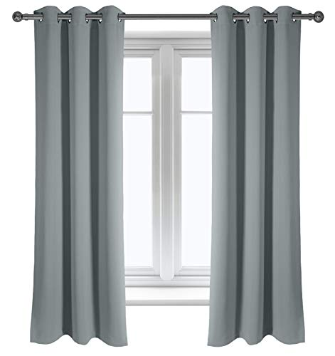 Grey Blackout Curtains, Bedroom and Living Room Curtain, Grommet Room Darkening Thermal Insulated Window Curtain Panels, Noise Reducing and Light Blocking Drapes, 42 X 63 Inch, Set of 2 Panels