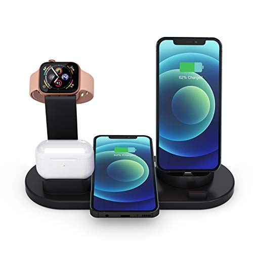 Rocky Wireless Charger, Qi-Certified 6 in 1 Fast Charger Station with USB for iWatch AirPods iPhone and Samsung, Wireless Charging Stand for iPhone 11/11 Pro Max/X/XS/XR/Xs Max/8/8 Plus