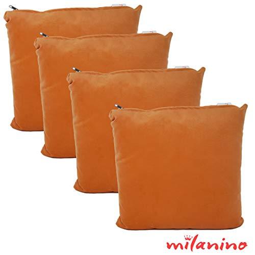 milanino 4er Set Dekokissen mit Füllung und Bezug | 40x40 cm | Premium Füllkissen samtweich Sofakissen Couchkissen Zierkissen mit Kissenhülle | pflegeleicht | mit Reißverschluss | Design (Orange)