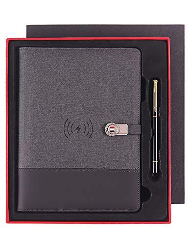 Bloc de notas ejecutivo de tapa dura, organizador personal, puede llevar un cuaderno de carga inalámbrica con disco de 16 G, regalo de negocios, 3 colores opcionales etiqueta/gris oscuro