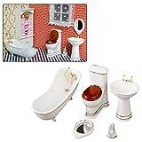 Sheuiossry 1/12 Mini maison de poupée miniature en porcelaine pour salle de bain, toilettes, baignoire, lavabo, accessoires et meubles pour enfants, amateurs de bricolage
