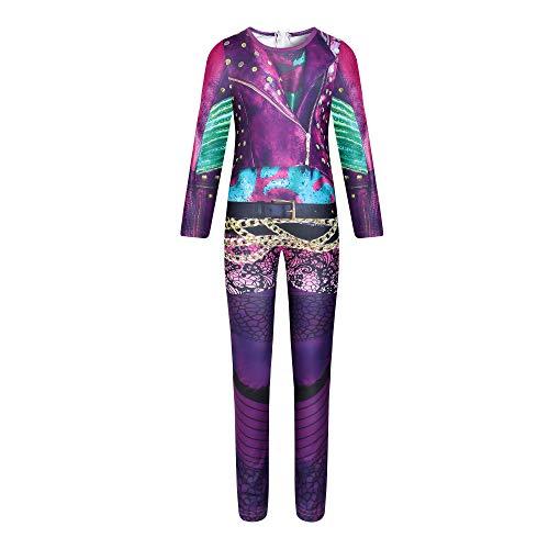Niñas Audrey Outfits Descendants 3 Mal Dress up Role Play Party Purple Jumpsuit Fantasia Gift para niñas