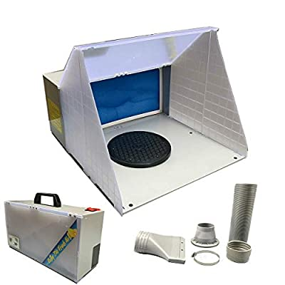 DOMINTY Airbrush Spray Booth Kit with LED Lighting Filter Portable Paint Spray Booths for Model Hobby,Crafts,Nails,Cake,T-Shirt