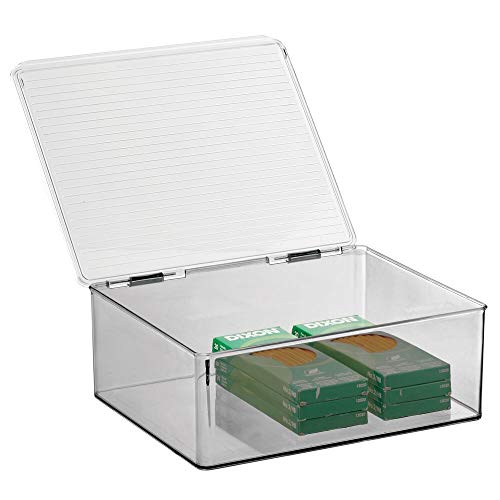 mDesign Plastic Stackable Home, Office Supplies Storage Organizer Box with Attached Lid - Holder Container Bin for Note Pads, Gel Pens, Staples, Dry Erase Markers, Tape - Clear/Smoke Gray