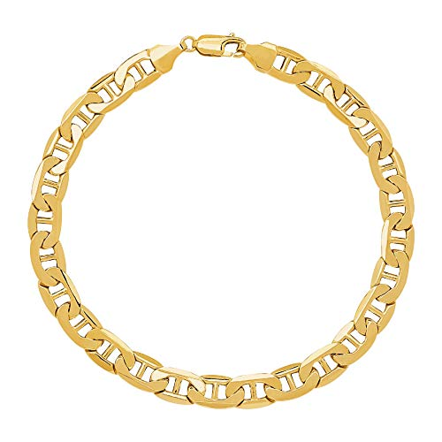GM Jewelry 18K Solid Gold Plated Flat Mariner Anklet