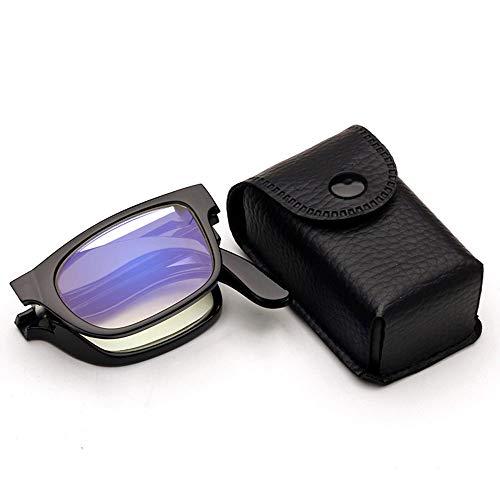Reading Glasses Gafas de Lectura Anti-Azules de Alta definición, Gafas de Lectura portátiles Plegables, Marco de plástico, Lente de Resina, Aumento 1.0-3.0, Negro