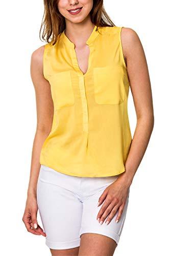 VERO MODA Damen Hemdbluse Blusentop Unifarben (38 (Herstellergröße: M), Yarrow)