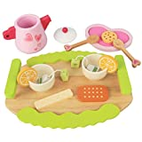 KIDS TOYLAND Tea Party Set for Little Girls, Pretend Food Play Wooden Tea Set Great Gift for 1 2 3 Year Old Girls Boys