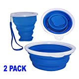 Typhon East Silicone Collapsible Bowl and Cup Set for Camping and Travel | Two Foldable Bowls and Two Cups | Ultra-Portable Mess Kit | BPA-Free Utensils for Hiking, Backpacking, Lunch, Beach (Blue)
