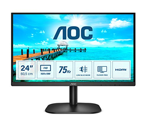AOC 24B2XHM2 Monitor LED da 23.8' VA Panel, Full HD, 4 ms, Refresh 75Hz, VGA, HDMI, Senza Bordi, Low Blue Light, Nero