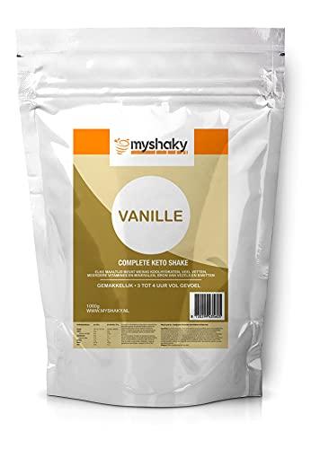 Keto Shake Vanilla - MyShaky gewicht: 1kg maaltijden: ±18 per zak smaak: vanille +gratis Shake beker