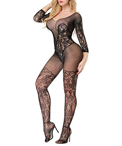 Buitifo Womens Fishnet Bodystocking Plus Size Crotchless Bodysuit Sexy Tights Soft Nightwear Lingerie for Women (Black 3)