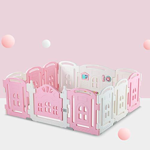 YF-Watch Boxes Baby Laufgitter Sicherheit Spielcenter Hof Baby Kids Home Indoor Outdoor Pen 14 Panel Pink + Weiß
