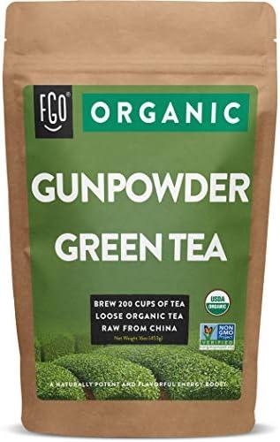 Organic Gunpowder Green Loose Leaf Tea Brew 200 Cups 16oz 453g Resealable Kraft Bag by FGO product image