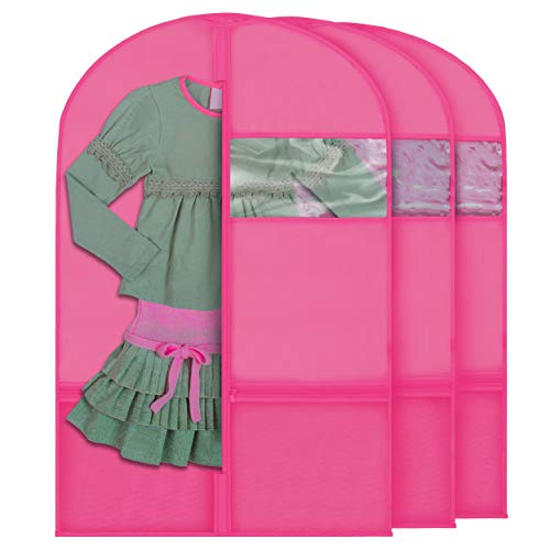 Plixio Garment Bags for Kids Dance Costumes with Transparent Window and Zippered Mesh Pockets for Shoes and Accessory Storage (3 Pack) (Pink: 36' x 23')