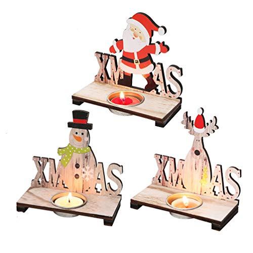 Amosfun Centrotavola Natalizi da tavola con portacandele in Legno di Babbo Natale con portacandele in Legno Natalizio