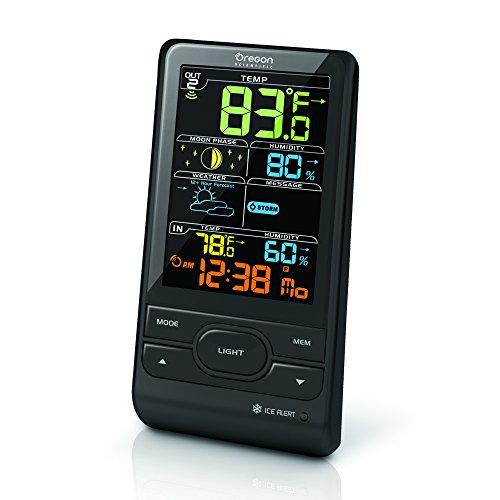 OREGON SCIENTIFIC  LCD ADVANCED WETTERSTATION AUßENTEMPERATUR UND LUFTFEUCHTIGKEIT; INNENTEMPERATUR UND LUFTFEUCHTIGKEIT; NÄCHSTE 12HR + WETTERVORHERSAGE; WETTER WARNMELDUNG;SCHWARTZ  BAR208SX