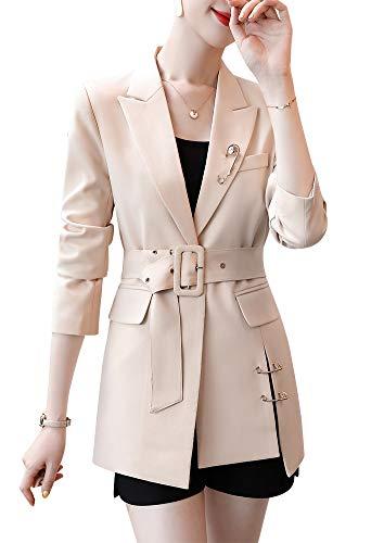SUSIELADY Womens Casual Jacket Casual Work Blazer Office Jacket Slim Fit Blazer for Business Lady (Beige-36, Large)