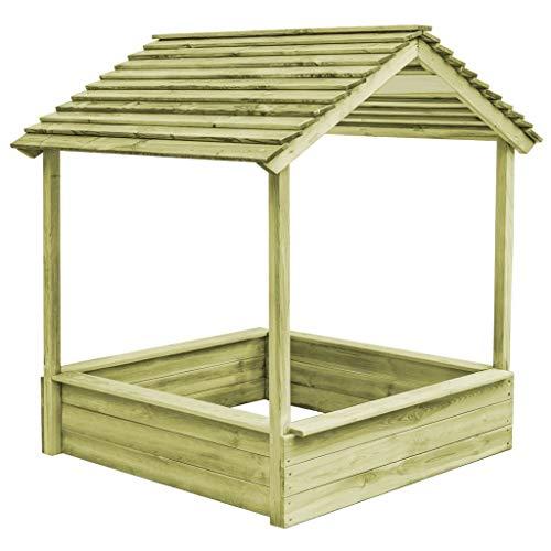 Festnight Garten-Spielhaus mit Sandkasten 128×120×145 cm| Kinderspielhaus-Set aus Grün Impraegniertes Kiefernholz