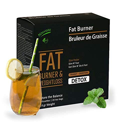 Liber-Tea Fat burner detox tea, for weight loss and belly fat, Promotes fat burning. Fat burner for men, Natural, Vegan and Organic fat burner detox tea for men, Detox night tea (20 Pack)