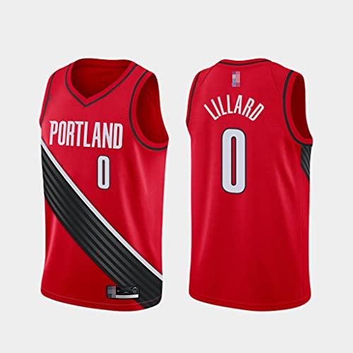 Baloncesto para Hombre NBA Portland Trail Blazers # 0 Damian Lillard Jersey, Fans Jersey Gym Sports Chaleco Seco Rápido, Camiseta En V Cuello,Rojo,M(170~175cm)