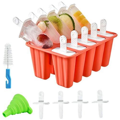 Helistar Popsicle Molds 10 Pieces DIY Reusable Silicone Ice Pop Molds Easy Release Ice Pop Maker with 14 Reusable Popsicle Sticks Silicone Funnel and Cleaning Brush, Red