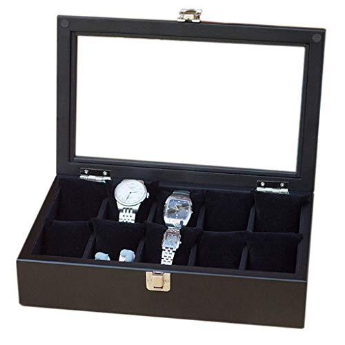 GFDFD Caja de Almacenamiento - 10 Rejillas Organizador Caja de Reloj Negra Caja de exhibición de Reloj de Madera Caja de Almacenamiento de Pulsera de joyería