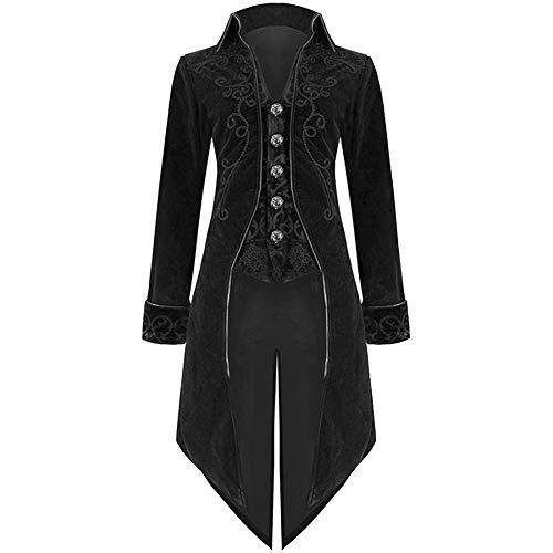 MRULIC Halloween Mäntel Herren Kapuze Jacke Gothic Gehrock Uniform Kostüm Party Oberbekleidung (EU-48/CN-XL, X1-Schwarz)