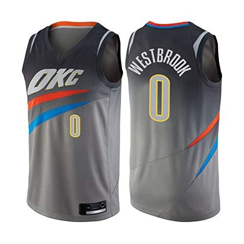 GGLL OKC Thunder Team #0 Russell Westbrook 17-19 temporada de baloncesto sin mangas, chaleco bordado de malla transpirable gris-L