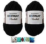Big Ball Blanket Yarn 2-Pack Bundle by Bernat Plus 6 Blanket Yarn Patterns Super Bulky #6 10.5 Ounce Ball 220 Yards (Coal)