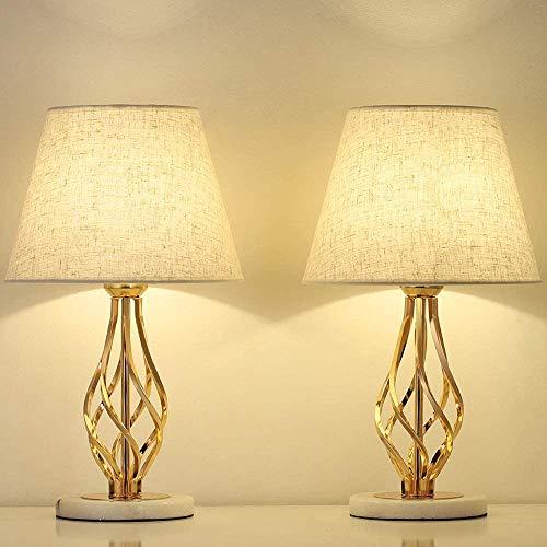 LIANTRAL Juego de 2 lámparas para mesita de noche doradas – Moderna lámpara de mesa para dormitorio, salón, ideal como regalo, con base de mármol y pantalla de lino ✅