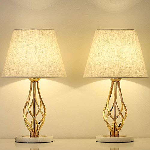 LIANTRAL Juego de 2 lámparas para mesita de noche doradas – Moderna lámpara de mesa para dormitorio, salón, ideal como regalo, con base de mármol y pantalla de lino