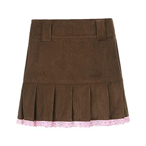N\P Falda plisada de pana marrón de las mujeres de la vendimia estética de la muchacha mini falda