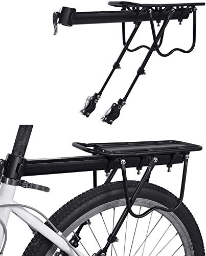 Gepacktrager Fahrrad Hinten, Weyty Cube Gepäckträger Einstellbare Aluminium-Legierung Gepäckträger Mountainbike Mit Reflektor Und Montierung, Für Mountainbike Rennrad Anderes Fahrrad, Maxzuladung 50kg
