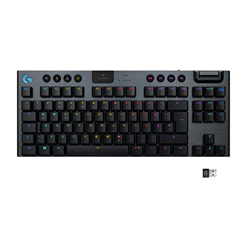 Logitech G915 LIGHTSPEED TKL kabellose mechanische Gaming-Tastatur ohne Ziffernblock, Taktiler GL-Tasten-Switch mit flachem Profil, LIGHTSYNC RGB, Ultraschlankes Design, 40+ Stunden Akkulaufzeit