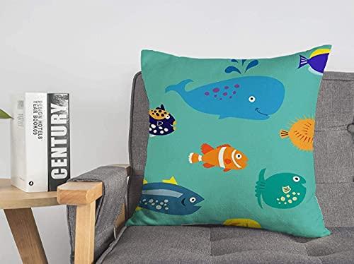 Dekorative Leinen Dekokissen Abdeckung Bunte Animation Tropische Fische Clown Tiere Tierwelt Anemonenfisch Aquarium Wasserzeichnung Baby Weiche Quadratische Kissenhülle für Sofa Stuhl Schlafzimmer, 1