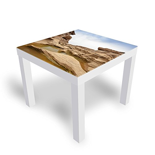 DekoGlas IKEA Lack Beistelltisch Couchtisch 'Naturstein' Sofatisch mit Motiv Glasplatte Kaffee-Tisch, 55x55x45 cm Weiß