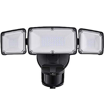 3500LM LED Security Lights, 35W Motion Sensor Light Outdoor, GLORIOUS-LITE Super Bright 3Head Motion Security Light, IP65 Waterproof, ETL Certified Exterior Flood Light for Garage Yard(NO Solar Power)