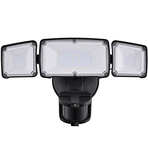 LED Security Lights, 35W Motion Sensor Light Outdoor, GLORIOUS-LITE Super Bright 3 Head Outdoor Flood Light, 5500K, IP65 Waterproof, ETL Certified for Garage, Yard, Porch, Entryways - Black