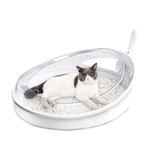 Groß Ecke Katzenstreu Tablett Katzentoilette Anti-Splash Transparent Hohe Seite Einfach zu Säubern Haustier Katze Notwendigkeit mit Katzenstreu Schaufel, 47x39x16cm