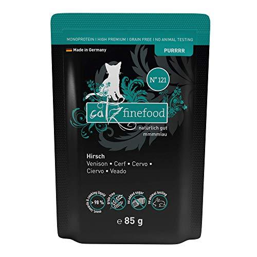catz finefood Purrrr Hirsch Monoprotein Katzenfutter nass N° 121, für ernährungssensible Katzen, 70% Fleischanteil, 16 x 85g Beutel