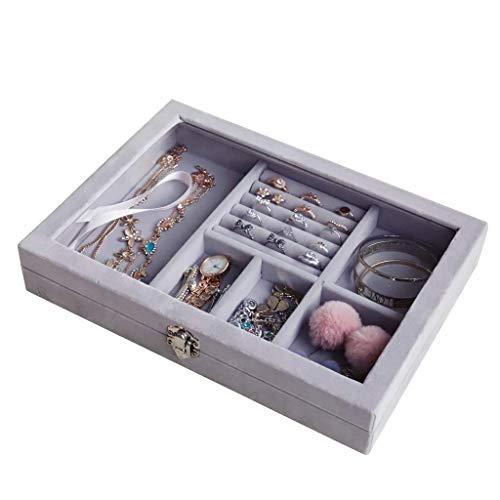 窓付き ジュエリーボックス 宝石箱 アクセサリーケース ネックレス 指輪 ピアス 小物入れ 贈り物 プレゼント かわいい おしゃれ グレー色   Bタイプ