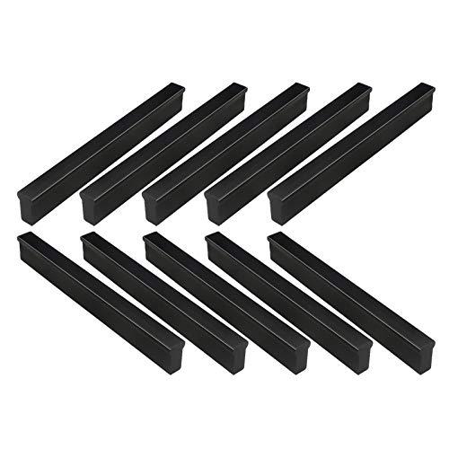 10 piezas Tirador para mueble de aluminio Tirador para mueble en forma de T Tirador de armario negro Con tornillos a juego adecuado para cajones de cocina puertas armarios decoraciones oficina en casa