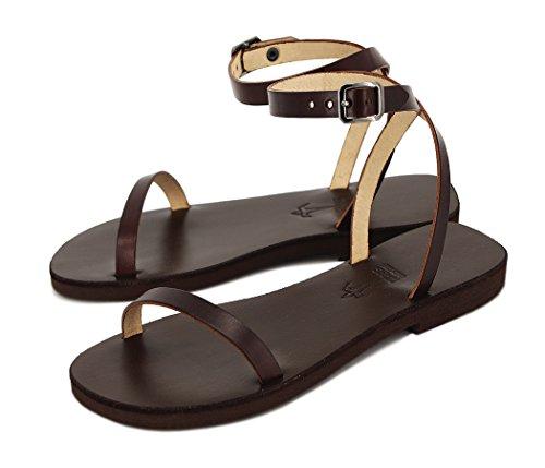 Enkelhet, lädersandaler, handgjorda i EU, sexig stil, elegant, chic, brud – frihet, - Brun - 38.5 EU