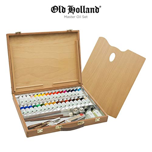 Old Holland Master's Oil Paint Set with Wood Storage Box &...