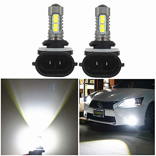 WLJH Lot de 2 ampoules LED blanches 6000 K 881 H27 2835 SMD et puce 3030 pour feux de brouillard