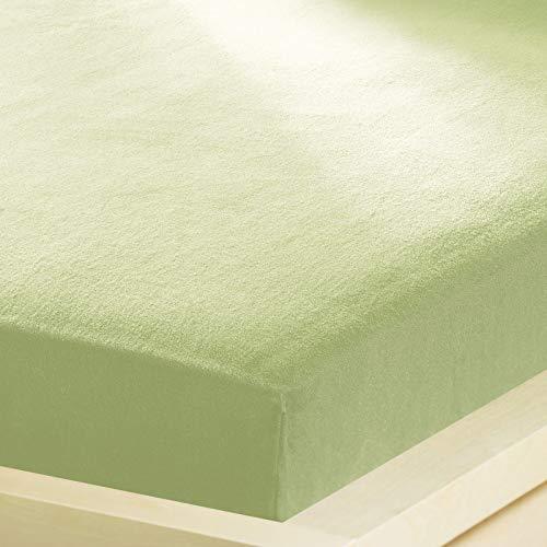 G Bettwarenshop Inkontinenz Spannbettlaken 2In1 • Wasserdicht Aus Weichem Feinbiber • Spannbetttuch Und Matratzenschutz In Einem 90x190-100x200 cm lindgrün