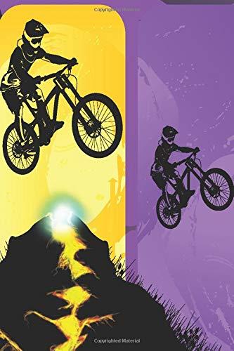 Jumping Biker: Mountainbike springt über einem Berg mit Lava